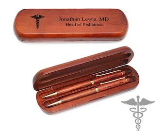 Cherry Wood Pen Gift Set for Medical Professional - Personalized Pen Set in Wooden Box - Custom Monogram Desk Pen Set for Doctor or Nurse