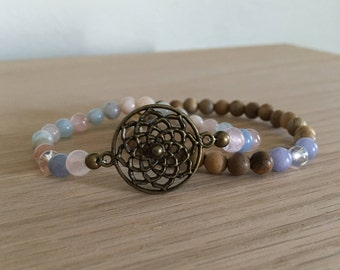 Love Deeply Mandala Bracelet Stack, Morganite, Aquamarine, Sandalwood, Heart Chakra, gemstone bracelet, healing crystals, spiritual jewelry