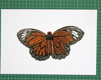 Monarch Butterfly Lino Reduction Print