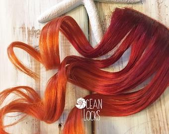 Red Hair Extensions, Hair extensions clip in, Ombre hair extensions, Orange Hair, Mermaid Hair, Ombre Hair, Human Hair,Ocean Locks Hair
