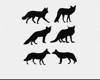 fox silhouette svg dxf file instant download silhouette cameo cricut clip art commercial use