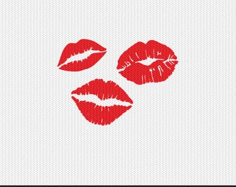 lips kiss valentines stencil svg dxf file instant download silhouette cameo cricut clip art commercial use