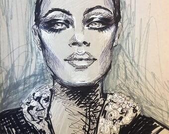 Original Fashion Illustration Portrait of Romy Schneider 1960's Makeup