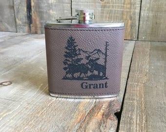 Moose Engraved Leather Flasks, Dark Brown, Personalized Leather Flask, Custom Leather Flask, Name Flasks, Monogram Flasks, Groomsman Flasks