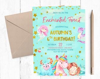 Enchanted Forest Birthday Invitation, Enchanted Forest Party Invites, Enchanted Forest Printable Invitation, Enchanted Forest Invitations,