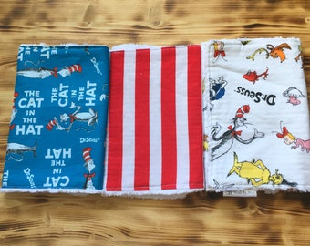 Dr Seuss Burp Cloth Set of 3 - Cat in the Hat Burp Cloth - Red Stripe Burp Cloth - Chenille Burp Rag - Dr Seuss Baby Shower Gift - Baby Gift