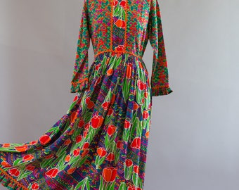 Rare and Colorful long sleeved vintage Lilly Pulitzer maxi dress with two prints