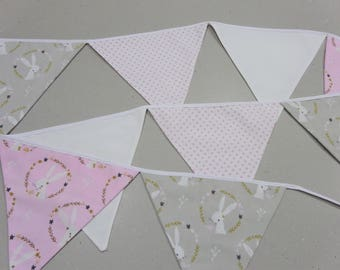 grey,pink bunnies and spotty fabric bunting, nursery bunting, baby shower decoration, baby shower gift, baby gift, 1st birthday, girl's room