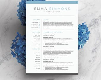 Resume Template 3 page | CV Template + Cover Letter for MS Word | Instant Digital Download | 'Emma'