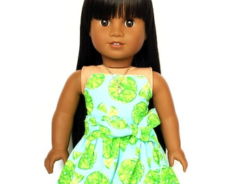 Flare Skirt, Sash Belt, Lime, Green, Blue, Fruit, Fits dolls such as American Girl, 18 inch Doll Clothes, Mix and Match