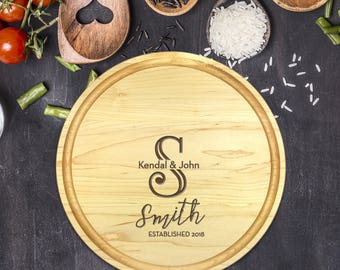 Custom Cutting Board Round - Engraved Cutting Board, Wedding Gift, Personalized Gift, Housewarming Gift, Anniversary Gift, Christmas, B-0021