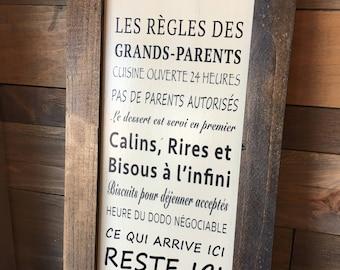 """Plaque """"Les règles des grands parents"""" - Version II"""