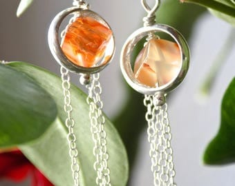 Stud Silver earrings, Carnelian, orange stone, Carnelian cube earrings