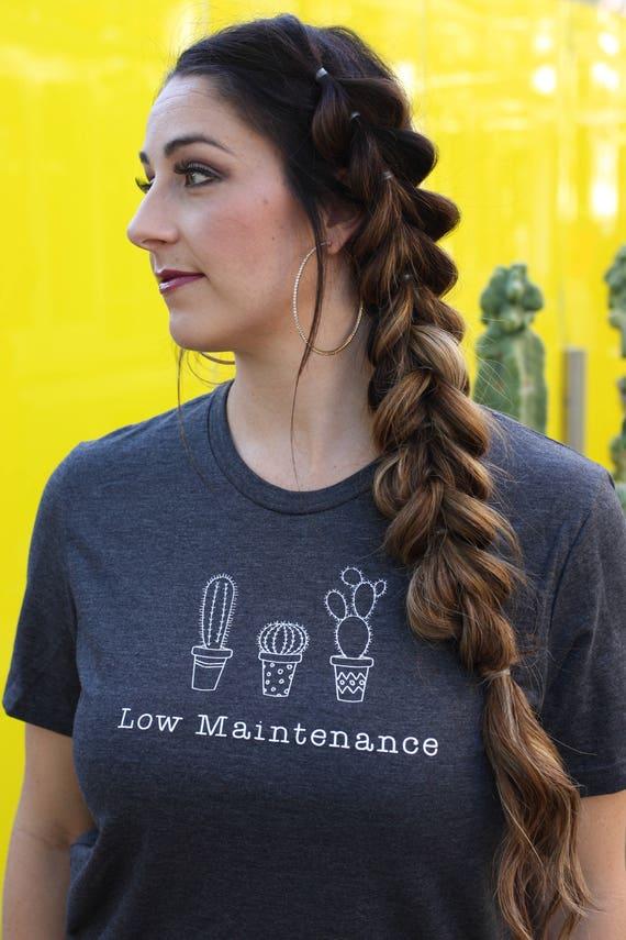 Cactus Shirt, Low Maintenance Dark Gray Adult T-Shirt