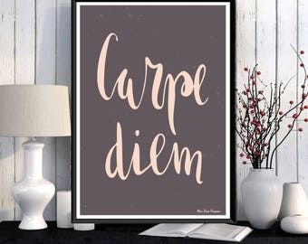 Inspirational poster, Word art, Digital typography, Carpe Diem, Modern design, Home wall art decor, Inspirational art, Quote print