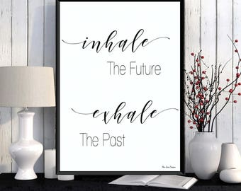 Inhale exhale quote, Yoga poster, Meditation quote, Relaxation quote, Black white poster, Modern design, Home wall art decor, Poster print