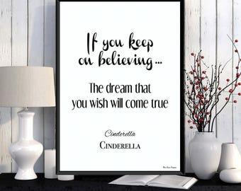 Cinderella, Disney quote, Disney print, Children poster, Girl room wall decor, Kids decor, Nursery print, Disney gift idea, Girl gift