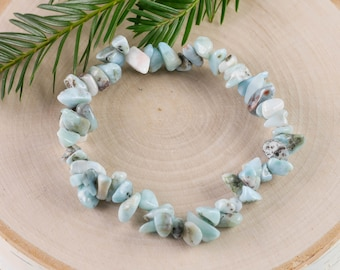 LARIMAR Chip Bracelet - Larimar Crystal, Larimar Jewelry, Stretch Bracelet, Larimar Bracelet, Healing Stone Bracelet E0725