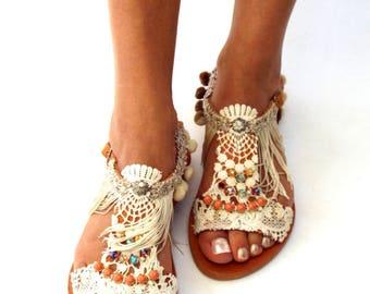 Pom Pom sandals, cotton lace, leather Sandals, wedding boho Sandals, Greek Sandals, handmade sandals