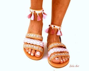 "Leather Boho Sandals, ""CYMONE"",  pink summer sandals, Greek Sandals, Handmade Sandals, , hippie sandals, Bohemian sandals"
