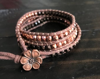Bronze and Copper Wrap Bracelet