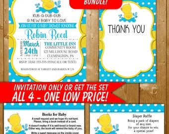Rubber Duck Baby Shower Invitation, Rubber Duck Invitation Inserts, Diaper Raffle, Books for Baby, Duck Thank You Card, DK001ST Printable