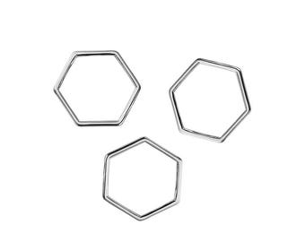 "10 connectors hexagon-shaped""silvered Metal 1.1 cm / geometric"