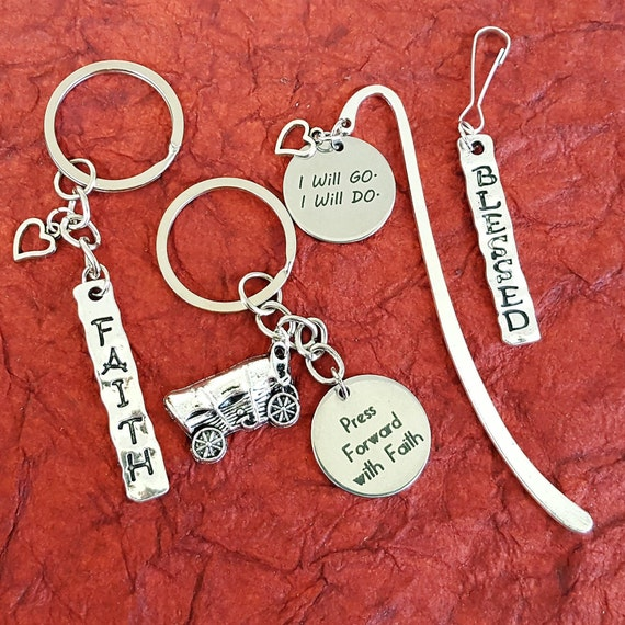 CUSTOM LDS Jewelry Bookmarks Key Rings Zipper Pulls Charms, Gifts for LDS Missionaries Primary Young Women, Girls Camp Youth Conference