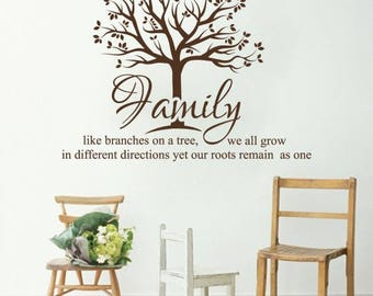 WD101089 | Wall Art Sticker - Family - Like branches on a tree we all grow in different directions, yet our roots remain as one