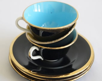 Tasses à café, manufacture Digoin Sarreguemines, vintage français, noir et doré, tasses à thé, faïence, coffee mugs, tea cups, earthenware