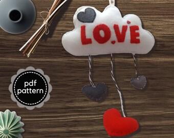 Felt Pattern-Felt-Cloud Pattern-Felt cloud decoration-Cloud sewing pattern-Felt PDF Pattern-Felt Love Cloud Ornament-Decor pattern-DIY Gift
