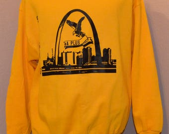 Deadstock St. Louis Tourist Sweatshirt Yellow JERZEES NwT Vintage 1990's