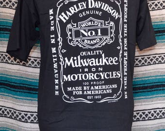 1987 Harley Davidson Single Stitch Shirt Jack Daniels Logo Milwakee X-Large 50 50 Cotton Polyester