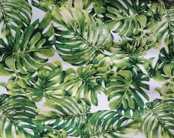 Tropical monstera leaf fabric / leaf fabric by the yard
