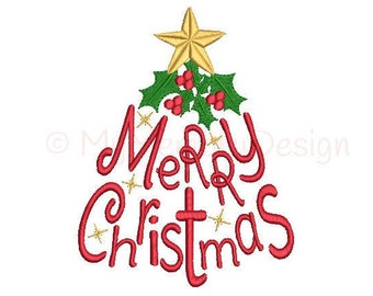 Christmas tree embroidery design - Merry Christmas Embroidery Design - Xmas machine embroidery digital file - INSTANT DOWNLOAD - 3 sizes