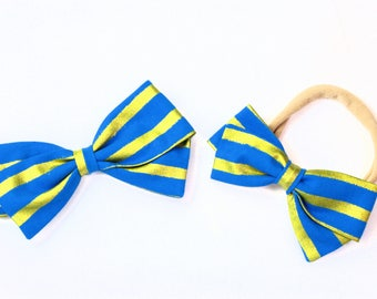 Gold and Blue Bow - Cheshire Cat Bow - Nylon Headband and Hair Clips for Girls