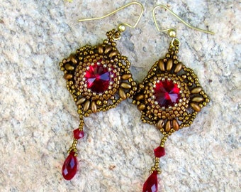 Red Swarovski beaded Bezel Earrings