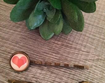 Cabochon 12 mm heart metal hair clip 2 barrettes