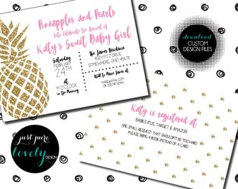 Pineapple & Pearls Baby Shower Invitation | Pink | Gold | Printable | Custom