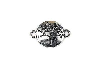 ON SALE 10 Tree Connectors, Bracelet Connector, Silver Connector, Jewelry Supplies, Antique Silver, Charm, Connector Charms, Findings, C1372