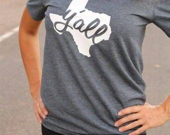 Texas Y'all lone star ladies t-shirt