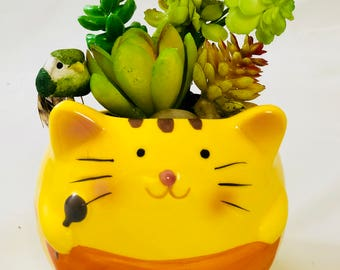 Animal Cat Pot with Artificial or Real Succulent Plant