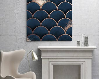 Moroccan Print, Navy & Copper Print, Paint Splatter Art, Navy Home Decor, Geometric Art, Digital Painting, 16x20, 30x40, A2, Print Avenue
