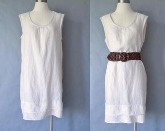 Linen sleeveless cream/egg shell minimalist dress women's size S/M