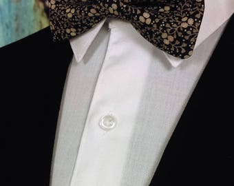 Floral Bow Tie, Floral Bowtie, Black Bow Tie, Black Bowtie, Mens Bow Tie, Mens Bowtie, Fathers Day, Birthday, Gift, Wedding, Prom, Dad, Tan