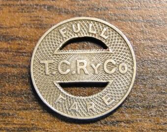 "Rock Island IL Tri-City Railway Co TC Ry Co Transit Token - 5/8"" - Nice Find!"