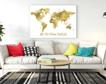 Gold world map art gold world map gold office print gold china gold world map gumiabroncs Choice Image