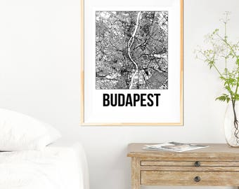 Budapest City Map Print - Black and White Minimalist City Map - Budapest Map - Budapest Art Print - Many Sizes/Colours Available