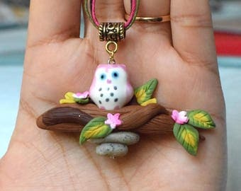 OWL UP necklace, Super cute jewelry, handmade jewelry for girls, Polymer Clay Jewelry, Gifts for Kids/Little girls