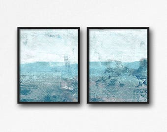 Abstract Digital Download Set Of 2 Prints, Aqua Blue Printable Diptych, Modern Contemporary Ocean Seascape Painting, Coastal Bathroom Art